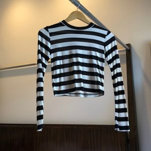 Pencey black and white stripe crop top